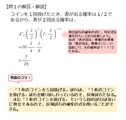 反復試行を扱った問題第1問の解答例