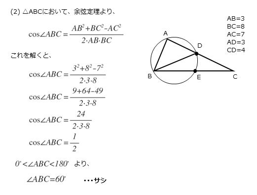 第5問(2)の解答欄サシの解答例