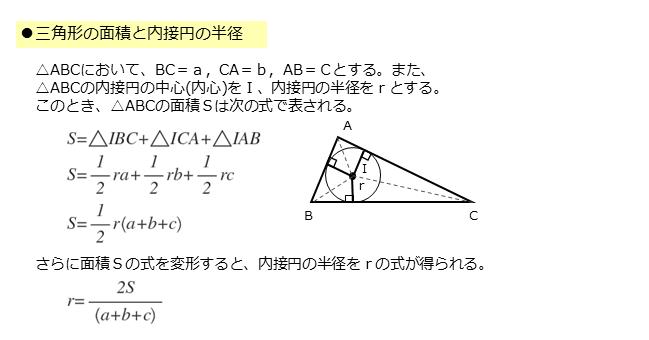 三角形の面積と内接円の半径との関係