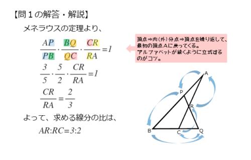 メネラウスの定理を扱った問題の解答例