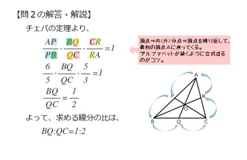 チェバの定理を扱った問題の解答例