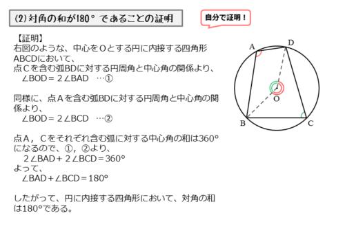 円に内接する四角形の対角の和の証明