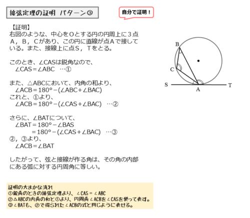 接点を通る弦と接線とがつくる角が鈍角のときの証明