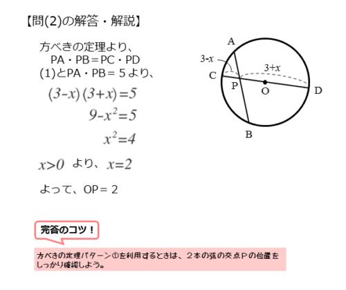 方べきの定理やその逆を扱った問題問2の解答例