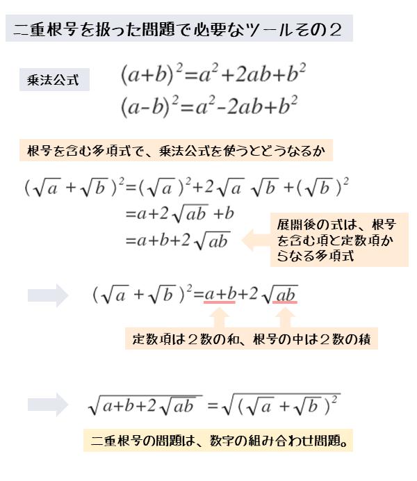 根号を含む多項式の2乗の展開