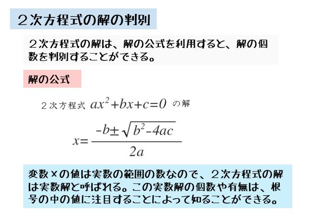 2次方程式の解の判別