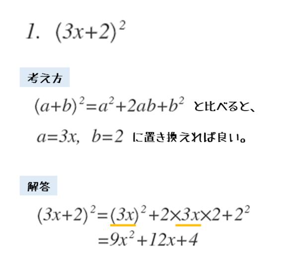 2項からなる多項式の2乗の展開