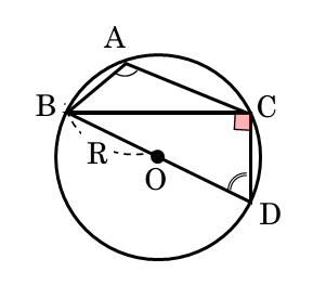 鈍角三角形と外接円