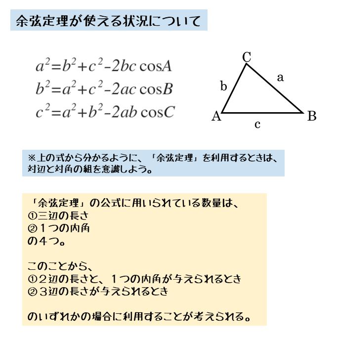余弦定理を使える条件