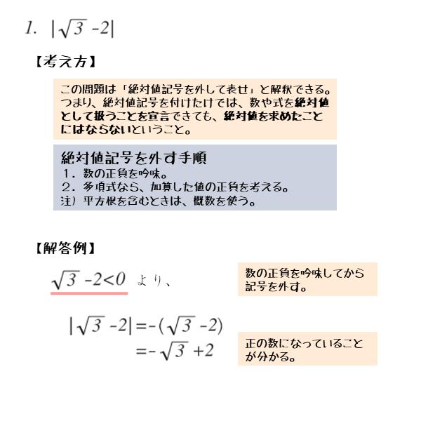 無理数と有理数を含む数の絶対値