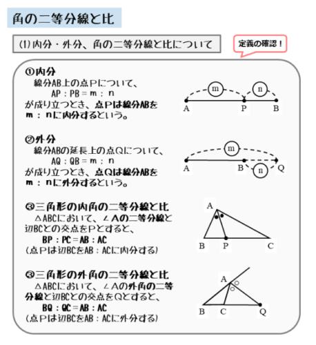 角の二等分線と比に関する用語