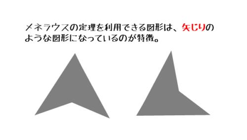 メネラウスの定理が成り立つ図は矢じり型