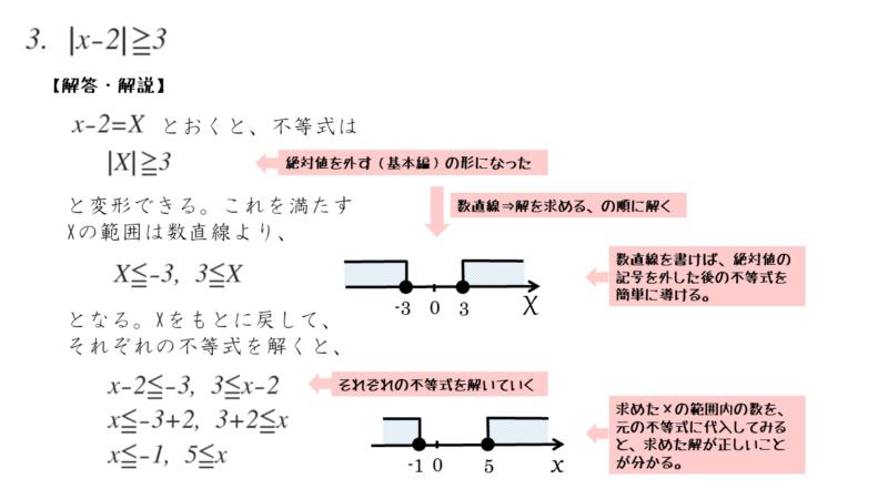 絶対値を含む不等式の演習問題 第3問