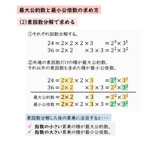 最大公約数や最小公倍数を筆算で求める(素因数分解を利用)