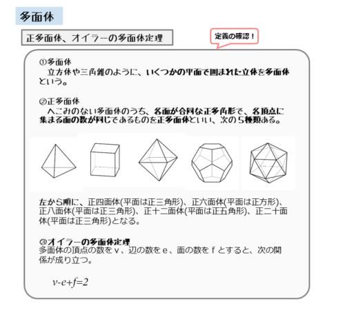 正多面体とオイラーの多面体定理のまとめ