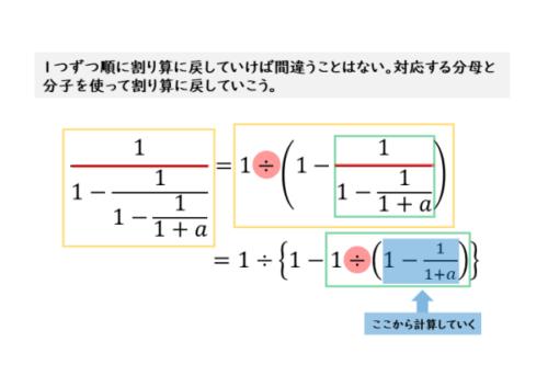 例(2)の繁分数式を割り算に戻す